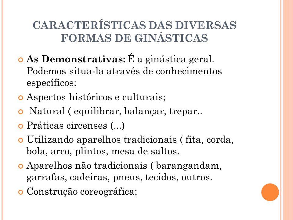 CARACTERÍSTICAS DAS DIVERSAS FORMAS DE GINÁSTICAS