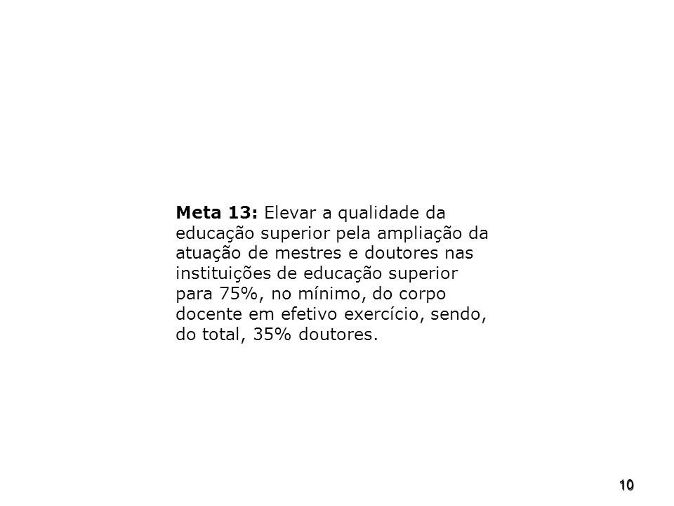 Meta 13: Elevar a qualidade da educação superior pela ampliação da atuação de mestres e doutores nas instituições de educação superior para 75%, no mínimo, do corpo docente em efetivo exercício, sendo, do total, 35% doutores.
