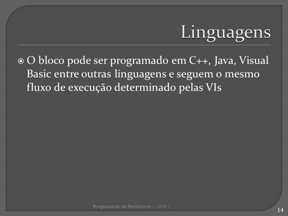 Linguagens O bloco pode ser programado em C++, Java, Visual Basic entre outras linguagens e seguem o mesmo fluxo de execução determinado pelas VIs.