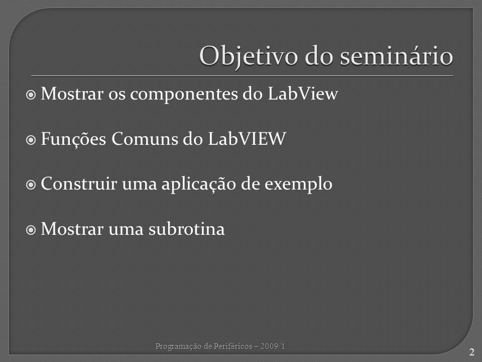 Objetivo do seminário Mostrar os componentes do LabView