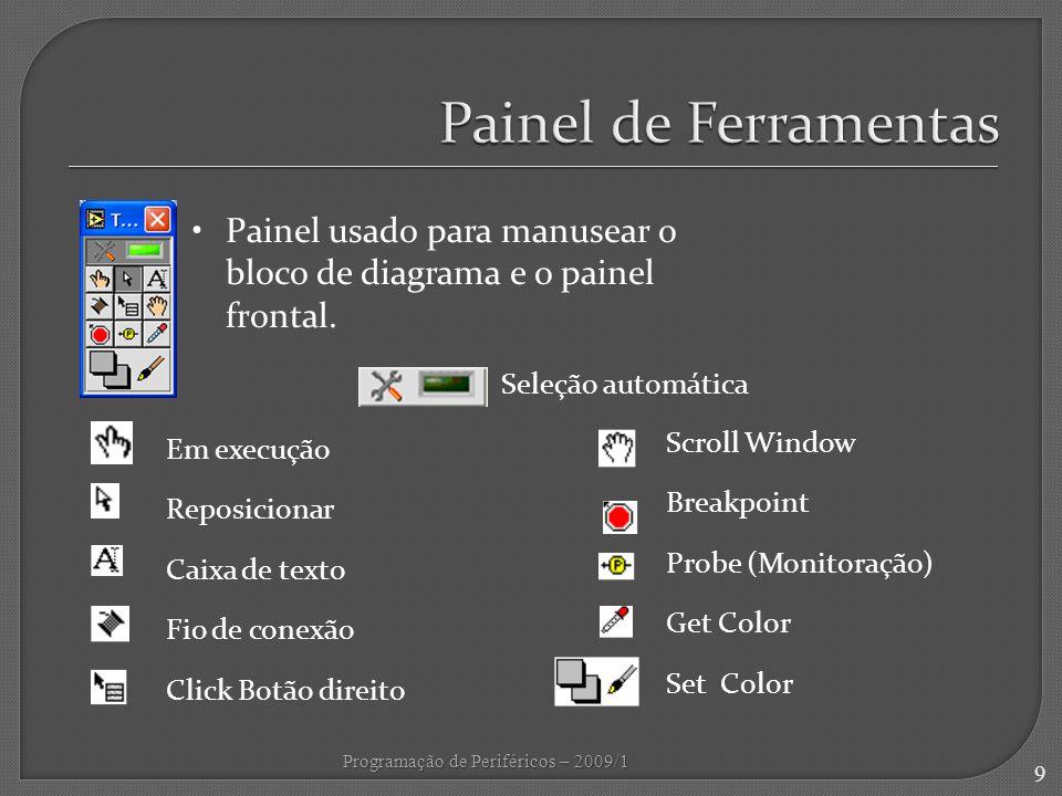 Painel de Ferramentas Painel usado para manusear o bloco de diagrama e o painel frontal. Seleção automática.