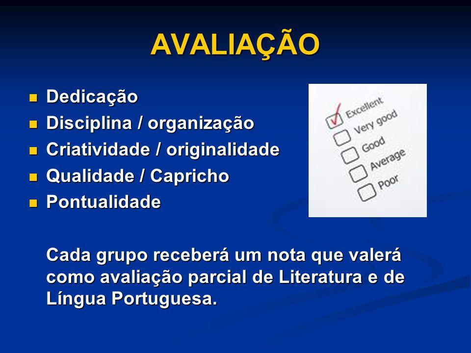 AVALIAÇÃO Dedicação Disciplina / organização