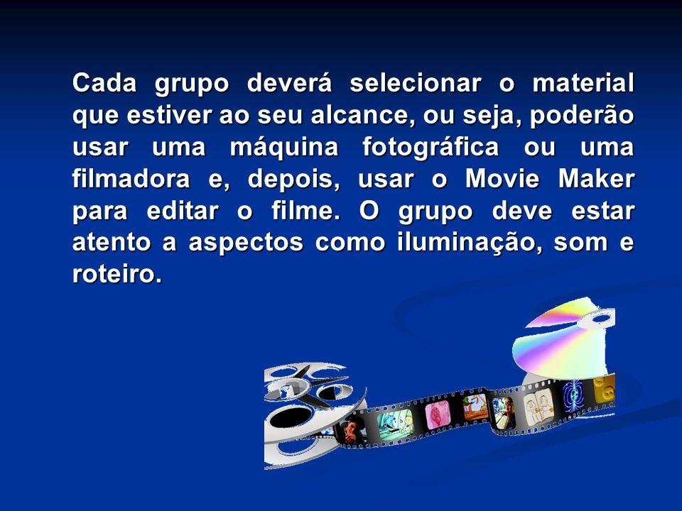 Cada grupo deverá selecionar o material que estiver ao seu alcance, ou seja, poderão usar uma máquina fotográfica ou uma filmadora e, depois, usar o Movie Maker para editar o filme.