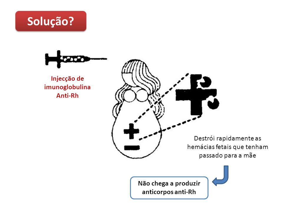 Injecção de imunoglobulina Não chega a produzir anticorpos anti-Rh
