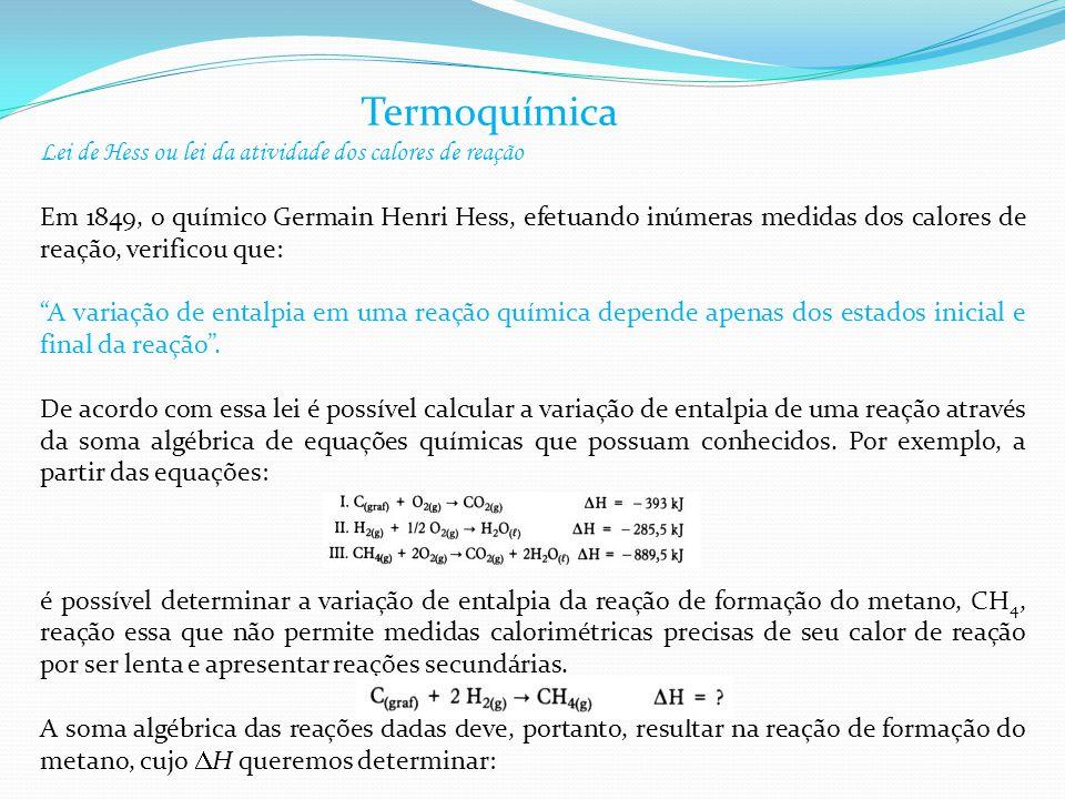 Termoquímica Lei de Hess ou lei da atividade dos calores de reação