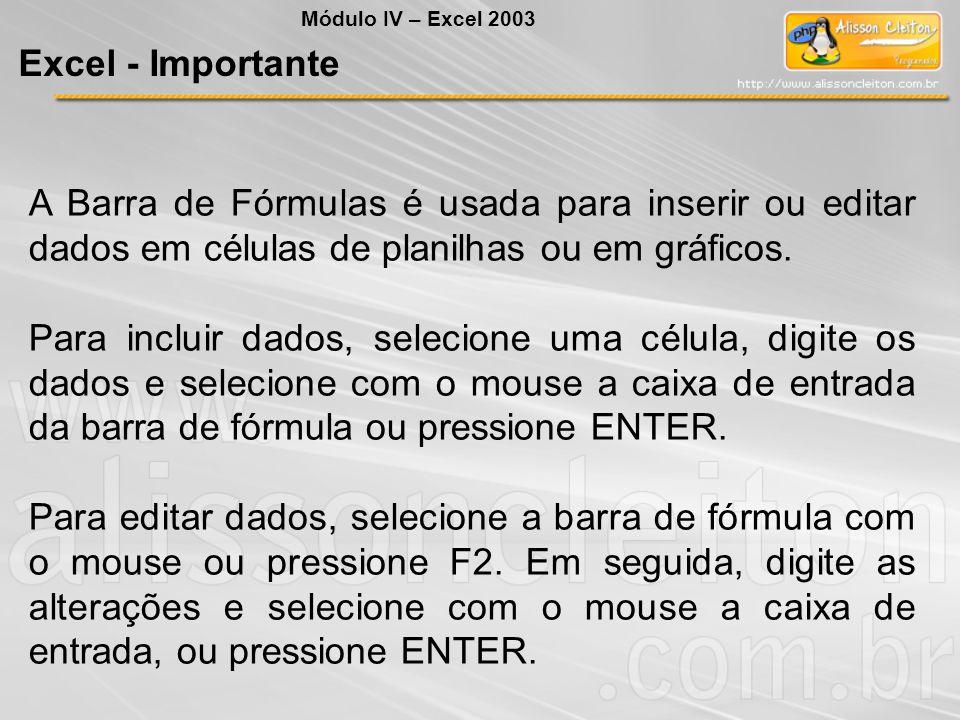 Módulo IV – Excel 2003 Excel - Importante. A Barra de Fórmulas é usada para inserir ou editar dados em células de planilhas ou em gráficos.