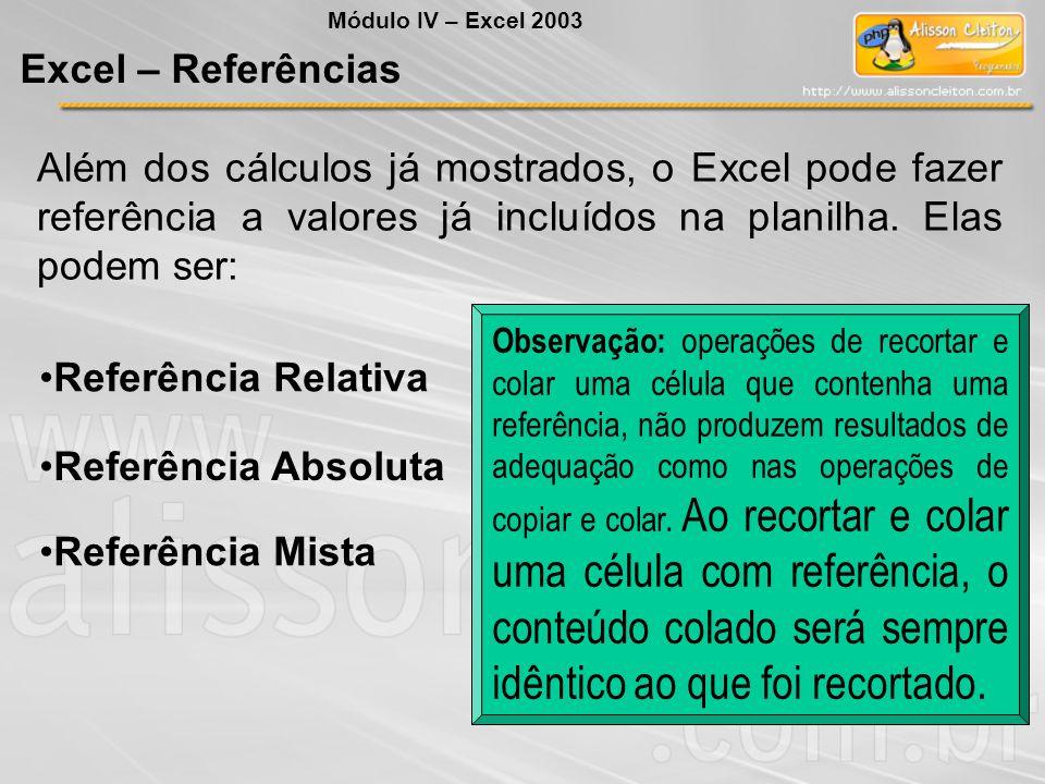 Módulo IV – Excel 2003 Excel – Referências.