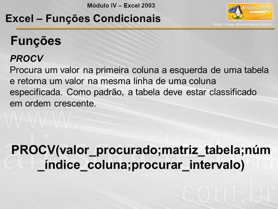Módulo IV – Excel 2003 Excel – Funções Condicionais. Funções. PROCV.