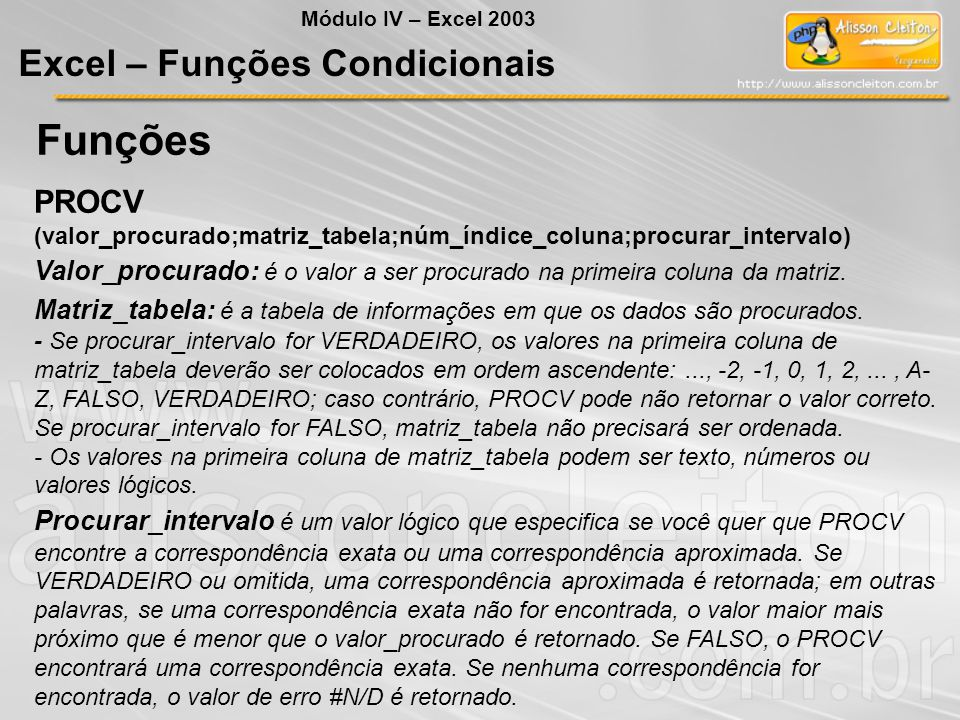 Funções Excel – Funções Condicionais