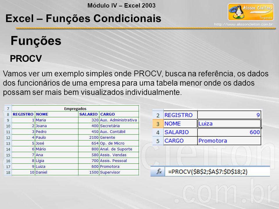 Funções Excel – Funções Condicionais PROCV