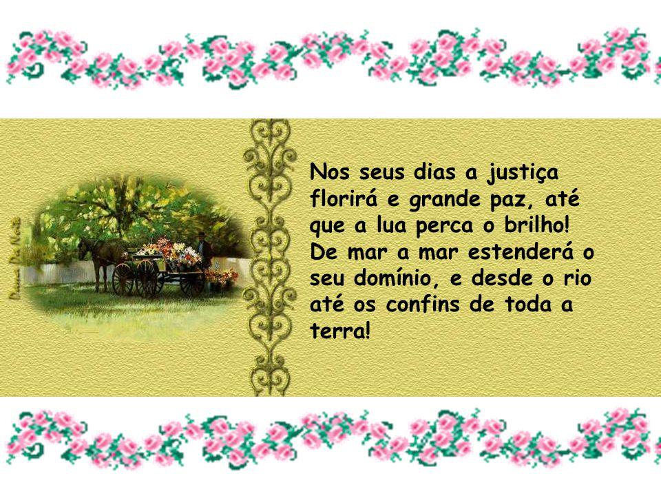 Nos seus dias a justiça florirá e grande paz, até que a lua perca o brilho.