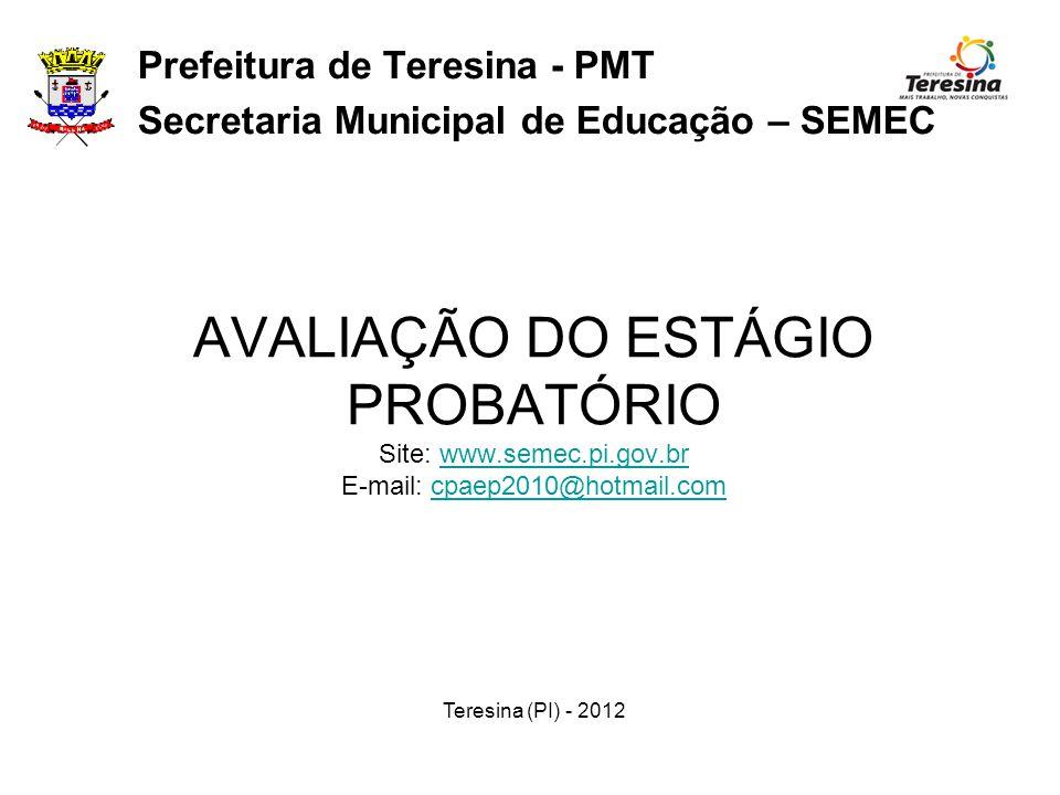 Prefeitura de Teresina - PMT Secretaria Municipal de Educação – SEMEC