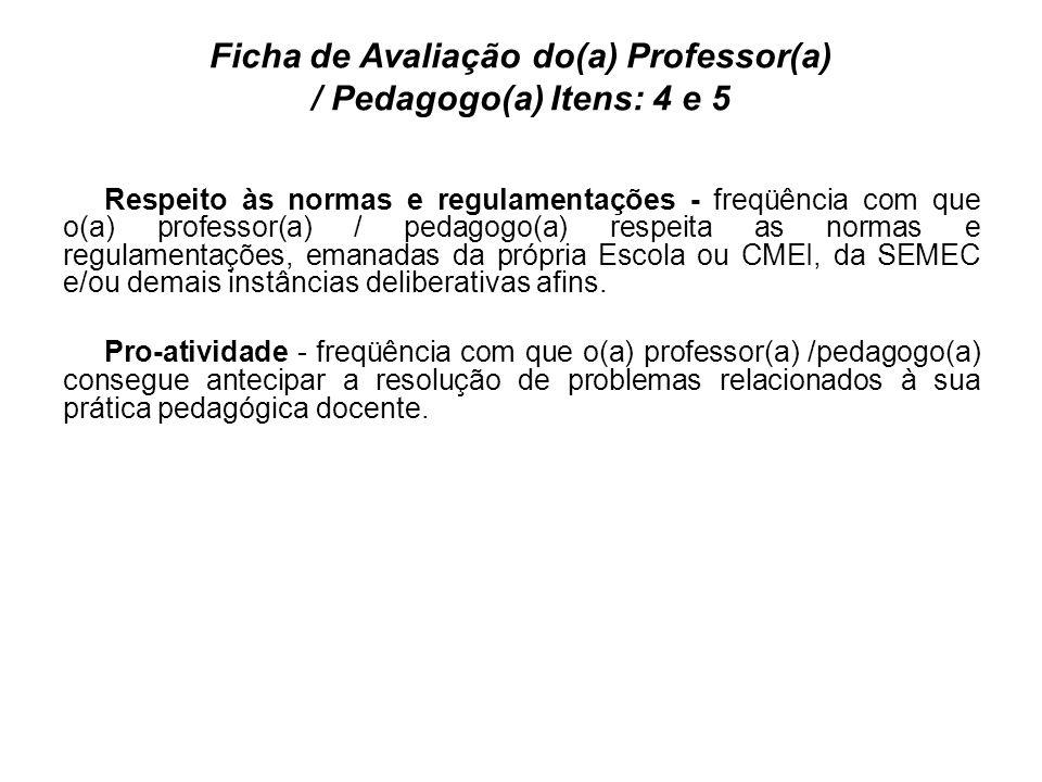Ficha de Avaliação do(a) Professor(a) / Pedagogo(a) Itens: 4 e 5