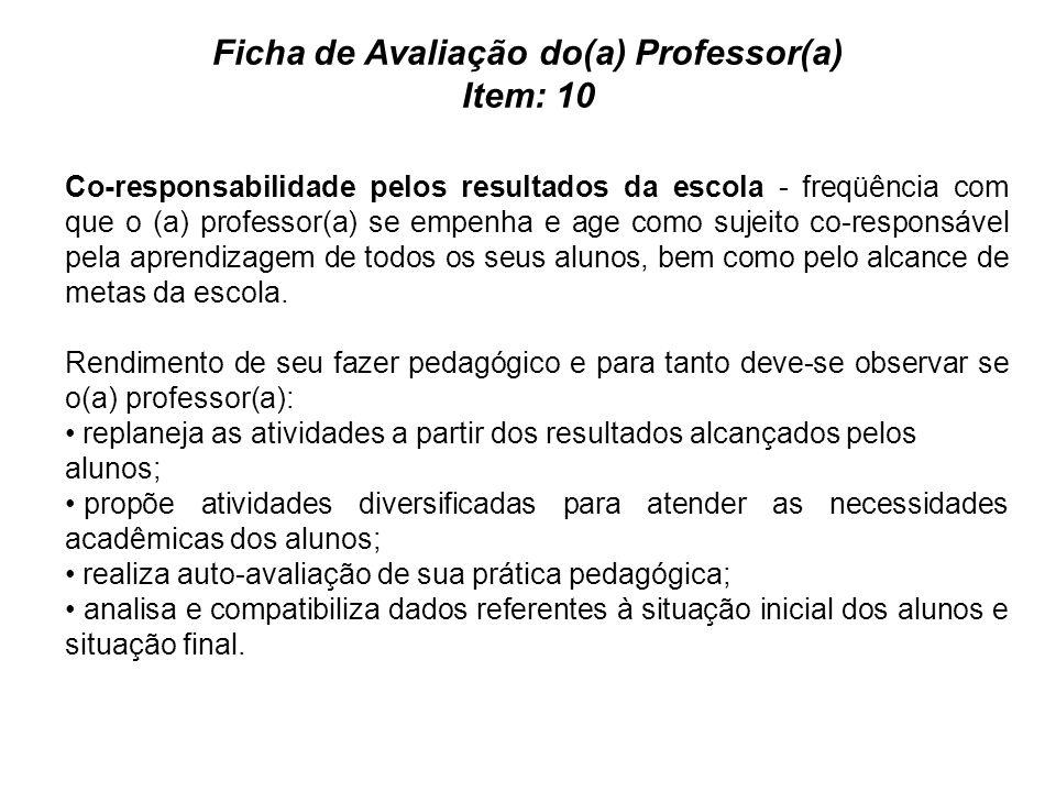Ficha de Avaliação do(a) Professor(a) Item: 10