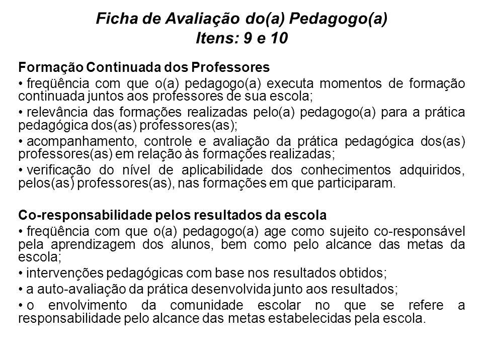 Ficha de Avaliação do(a) Pedagogo(a) Itens: 9 e 10