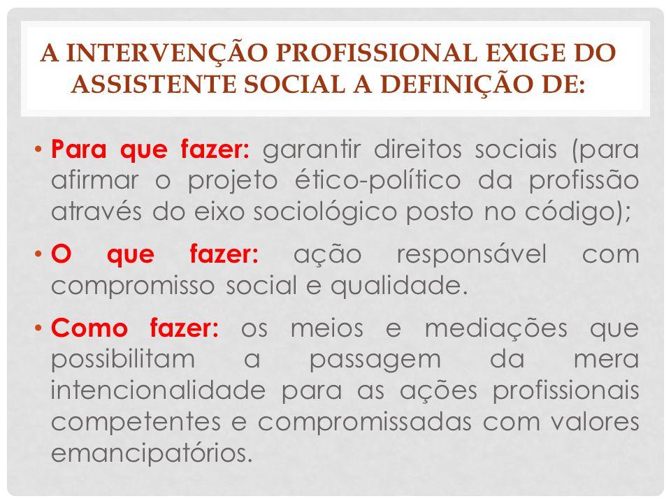 A intervenção profissional exige do assistente social a definição de: