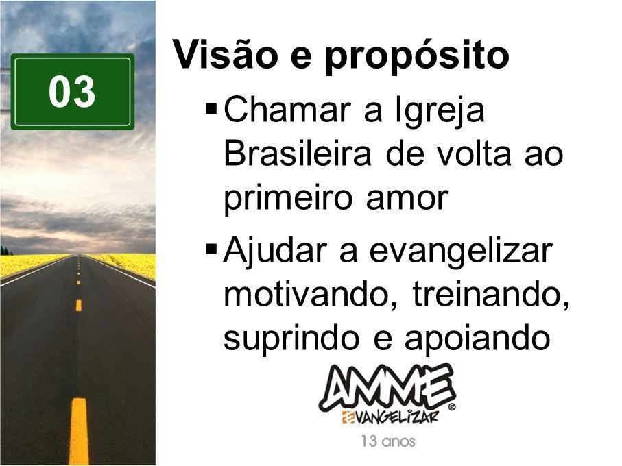 Visão e propósito Chamar a Igreja Brasileira de volta ao primeiro amor. Ajudar a evangelizar motivando, treinando, suprindo e apoiando.