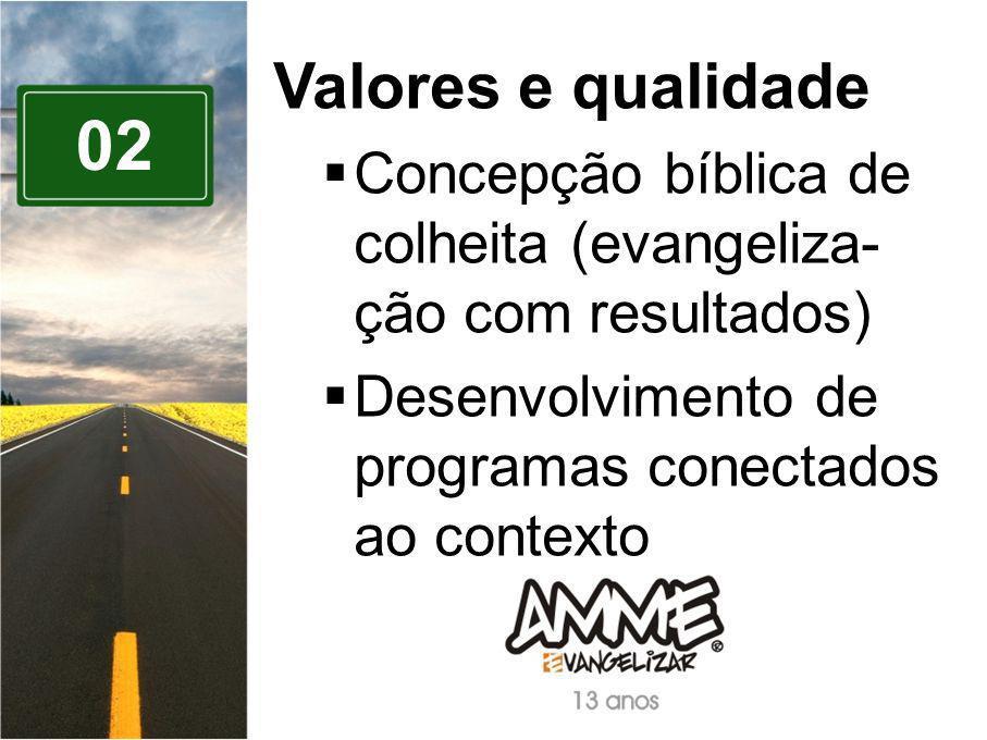 Valores e qualidade Concepção bíblica de colheita (evangeliza-ção com resultados) Desenvolvimento de programas conectados ao contexto.