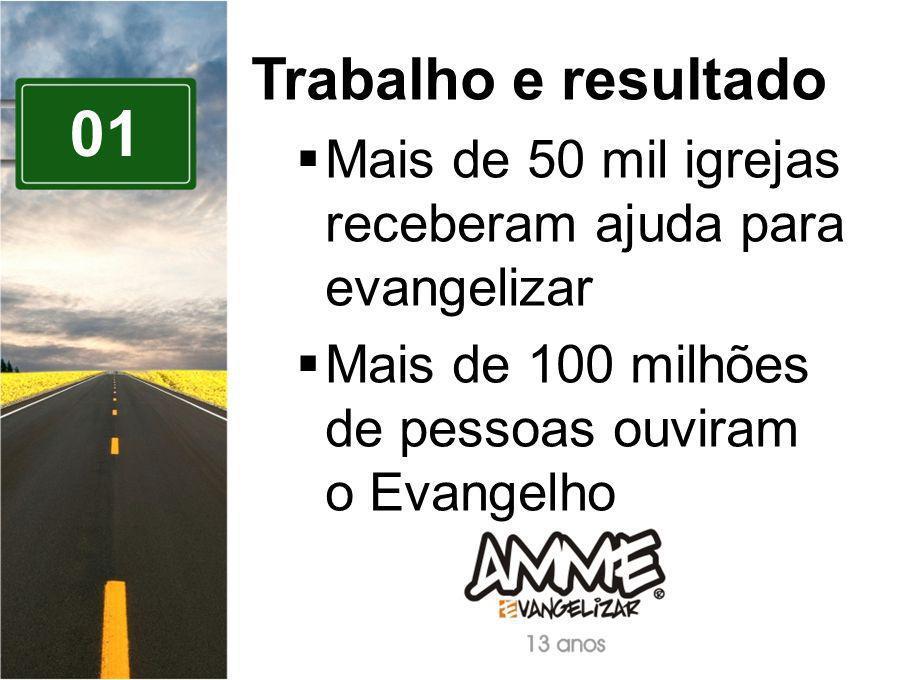 Trabalho e resultado Mais de 50 mil igrejas receberam ajuda para evangelizar. Mais de 100 milhões de pessoas ouviram o Evangelho.