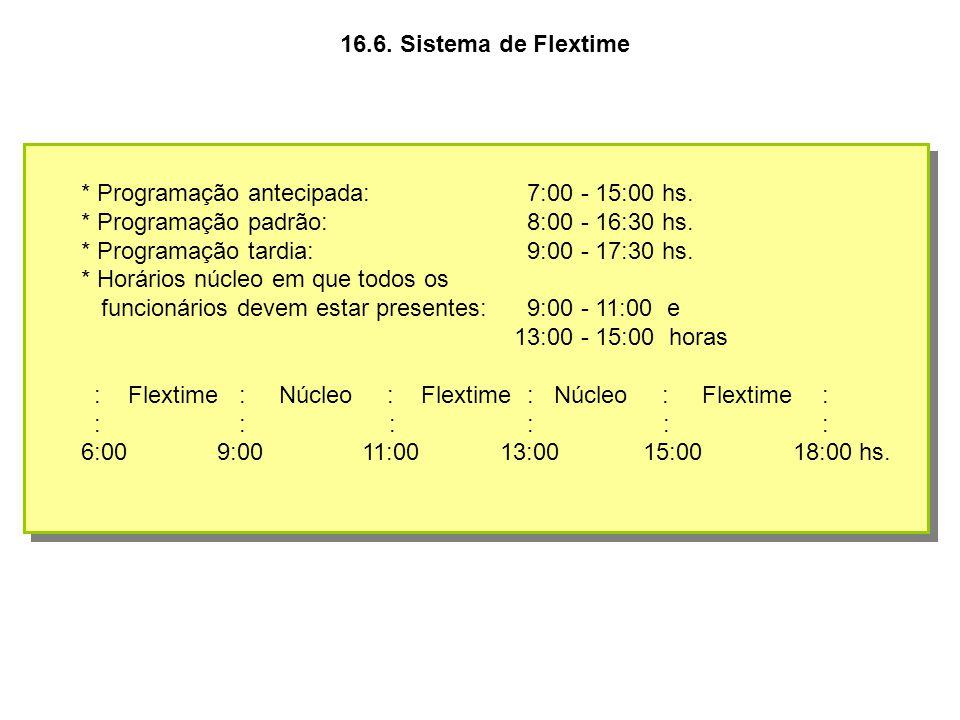 16.6. Sistema de Flextime * Programação antecipada: 7:00 - 15:00 hs. * Programação padrão: 8:00 - 16:30 hs.