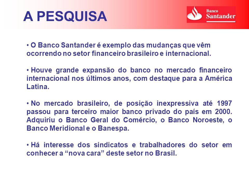 A PESQUISA O Banco Santander é exemplo das mudanças que vêm ocorrendo no setor financeiro brasileiro e internacional.