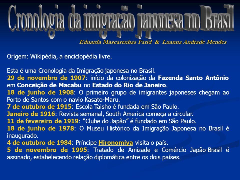 Cronologia da imigração japonesa no Brasil