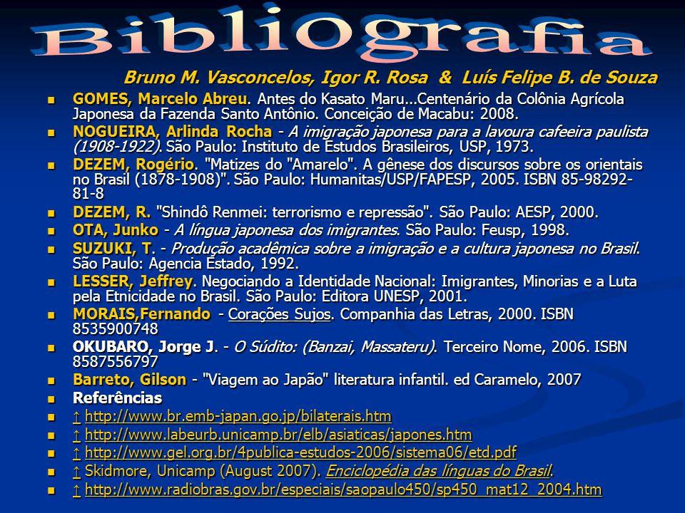 Bibliografia Bruno M. Vasconcelos, Igor R. Rosa & Luís Felipe B. de Souza.