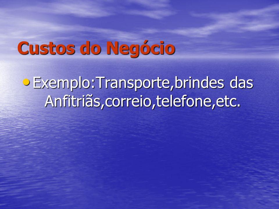 Exemplo:Transporte,brindes das Anfitriãs,correio,telefone,etc.