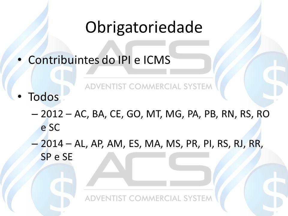 Obrigatoriedade Contribuintes do IPI e ICMS Todos