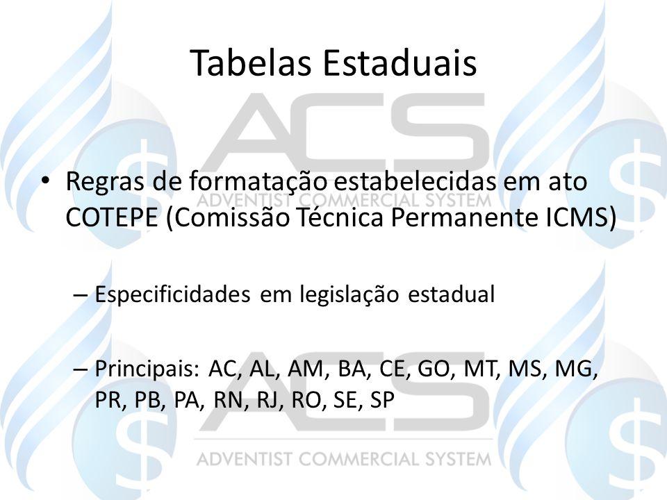 Tabelas Estaduais Regras de formatação estabelecidas em ato COTEPE (Comissão Técnica Permanente ICMS)