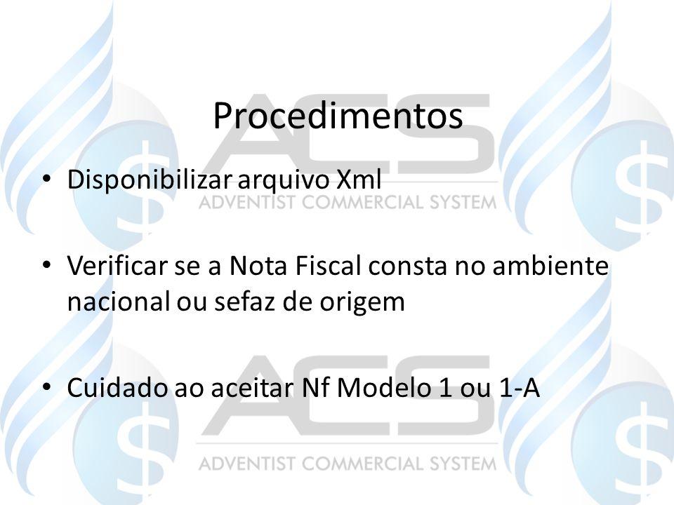 Procedimentos Disponibilizar arquivo Xml