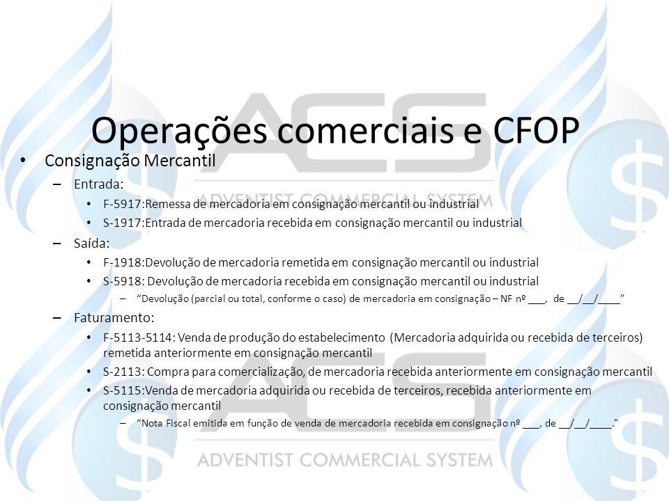 Operações comerciais e CFOP