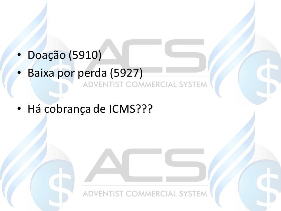 Doação (5910) Baixa por perda (5927) Há cobrança de ICMS