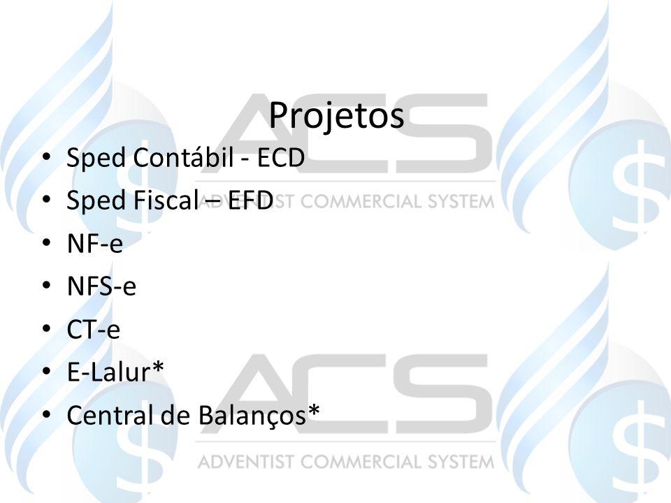 Projetos Sped Contábil - ECD Sped Fiscal – EFD NF-e NFS-e CT-e