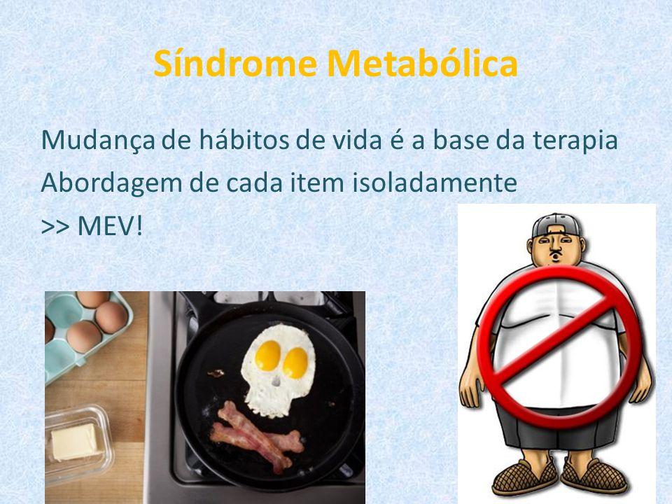 Síndrome Metabólica Mudança de hábitos de vida é a base da terapia Abordagem de cada item isoladamente >> MEV.