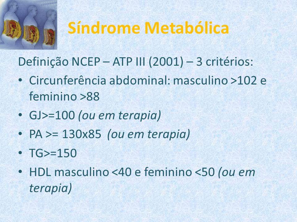 Síndrome Metabólica Definição NCEP – ATP III (2001) – 3 critérios: