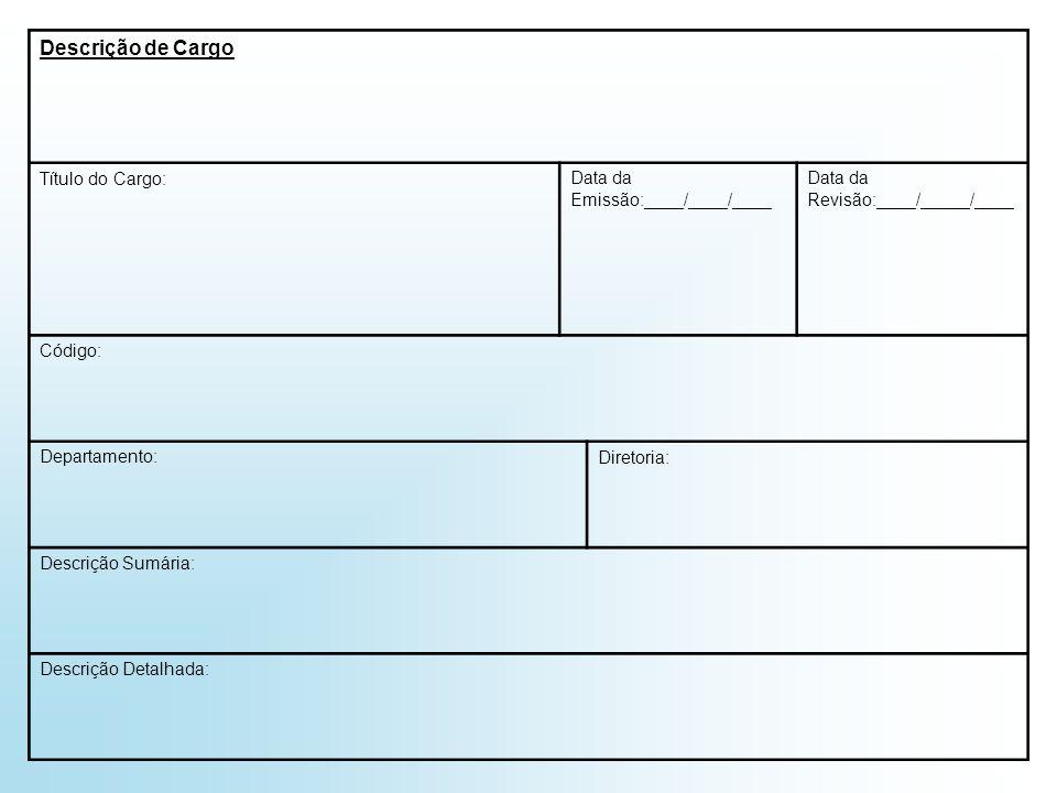 Descrição de Cargo Título do Cargo: Data da Emissão:____/____/____