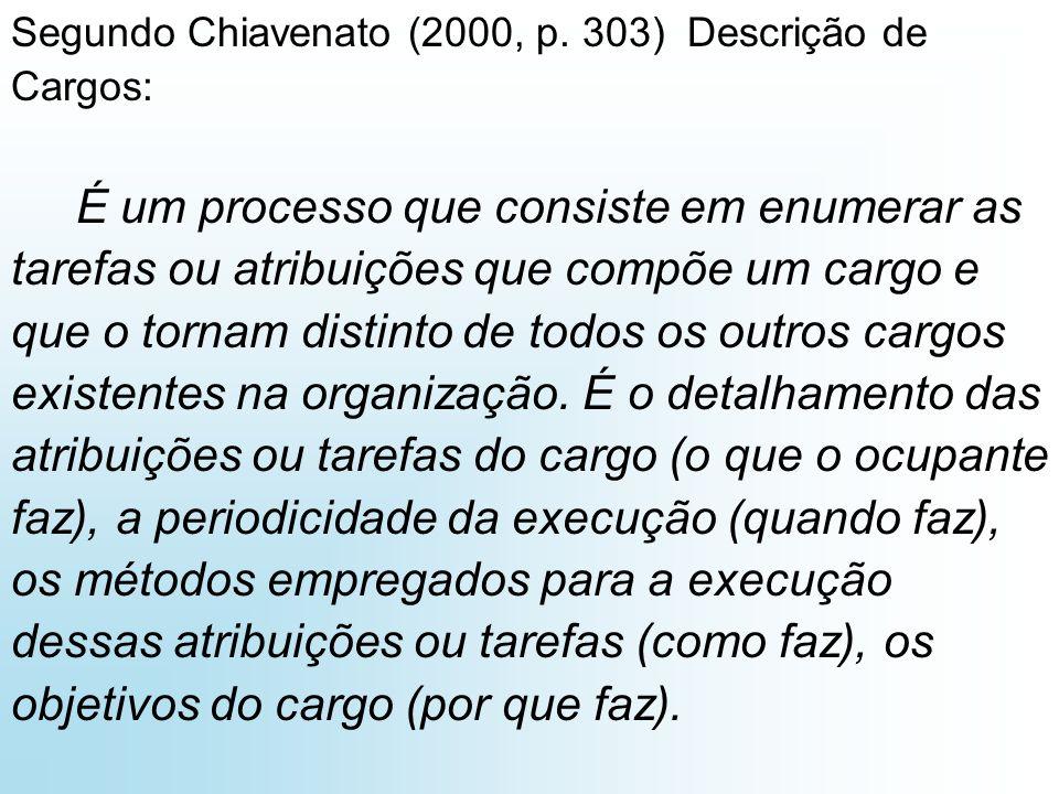 Segundo Chiavenato (2000, p. 303) Descrição de Cargos: