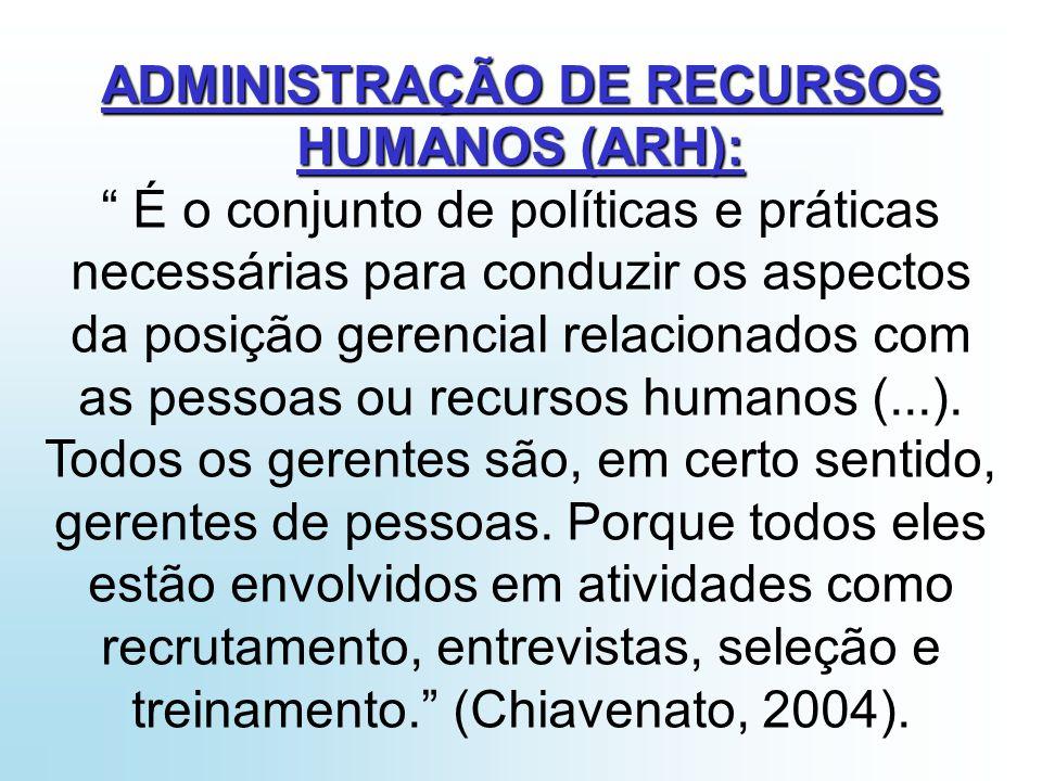 ADMINISTRAÇÃO DE RECURSOS HUMANOS (ARH):