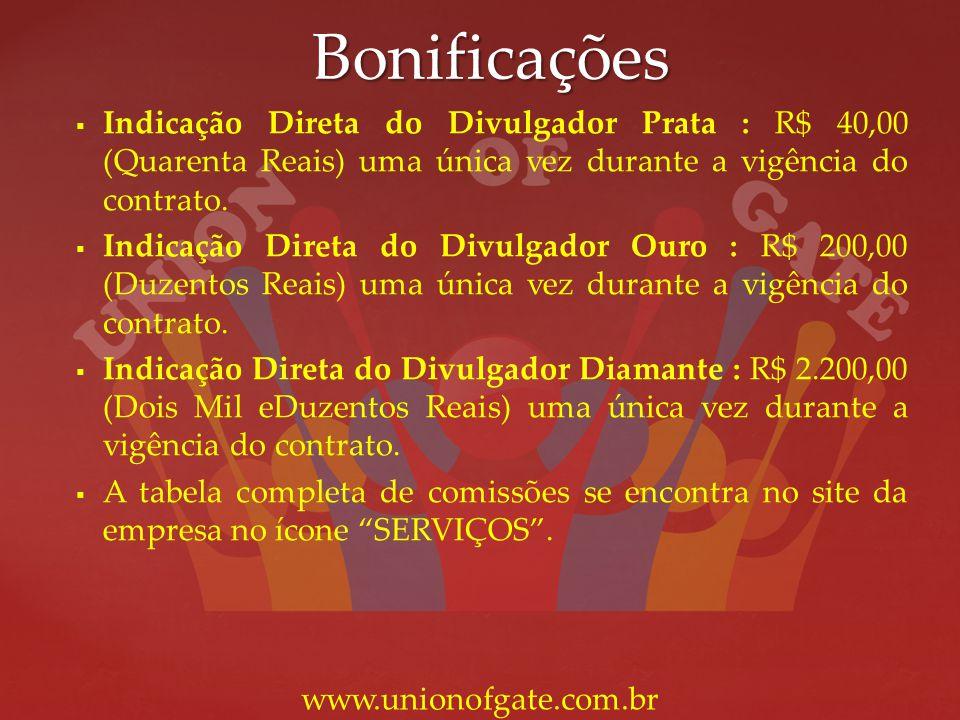 Bonificações Indicação Direta do Divulgador Prata : R$ 40,00 (Quarenta Reais) uma única vez durante a vigência do contrato.
