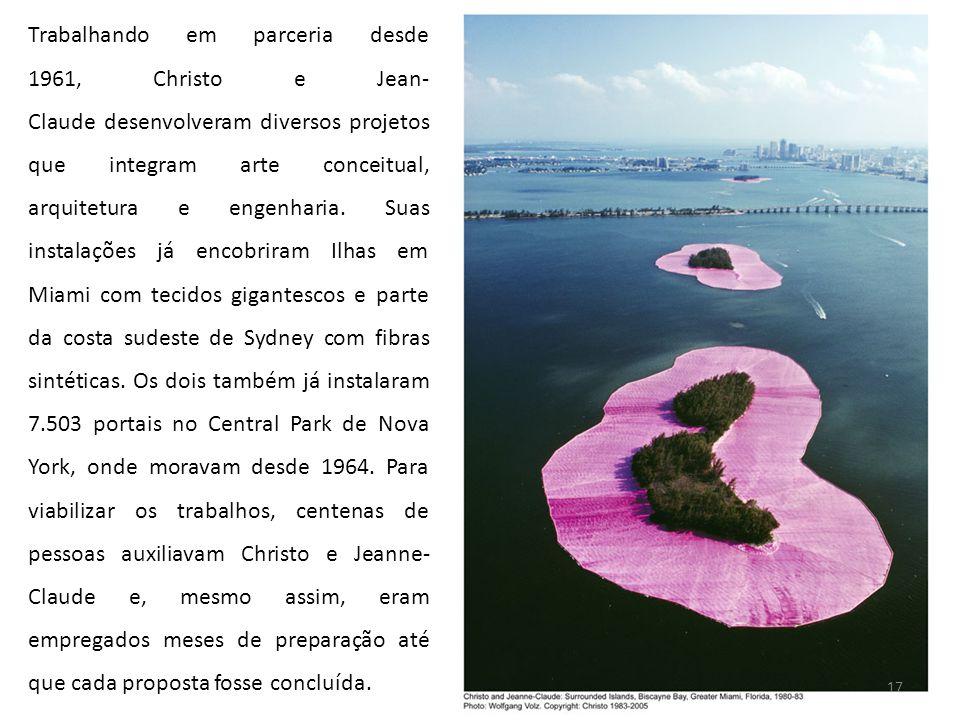 Trabalhando em parceria desde 1961, Christo e Jean-Claude desenvolveram diversos projetos que integram arte conceitual, arquitetura e engenharia.