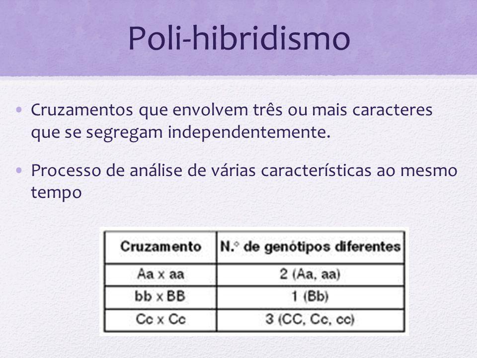 Poli-hibridismo Cruzamentos que envolvem três ou mais caracteres que se segregam independentemente.