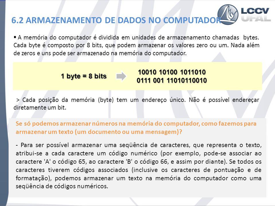 6.2 ARMAZENAMENTO DE DADOS NO COMPUTADOR