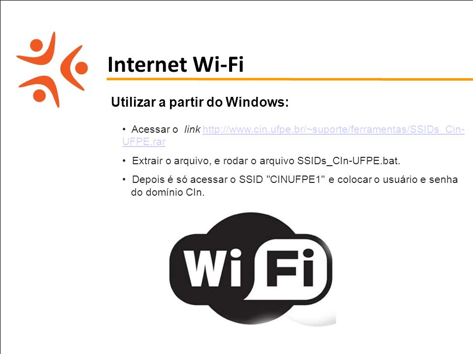 Internet Wi-Fi Utilizar a partir do Windows: