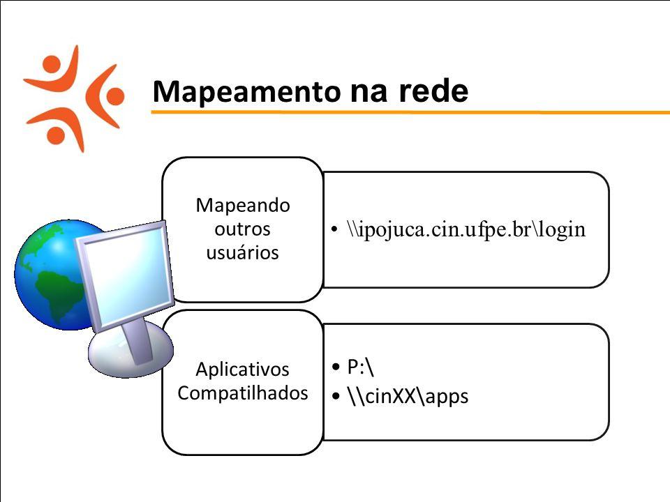 Mapeamento na rede \\ipojuca.cin.ufpe.br\login P:\ \\cinXX\apps