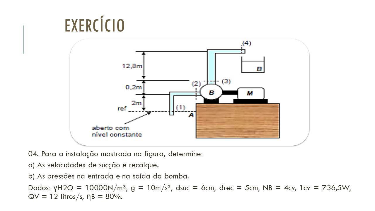 Exercício 04. Para a instalação mostrada na figura, determine:
