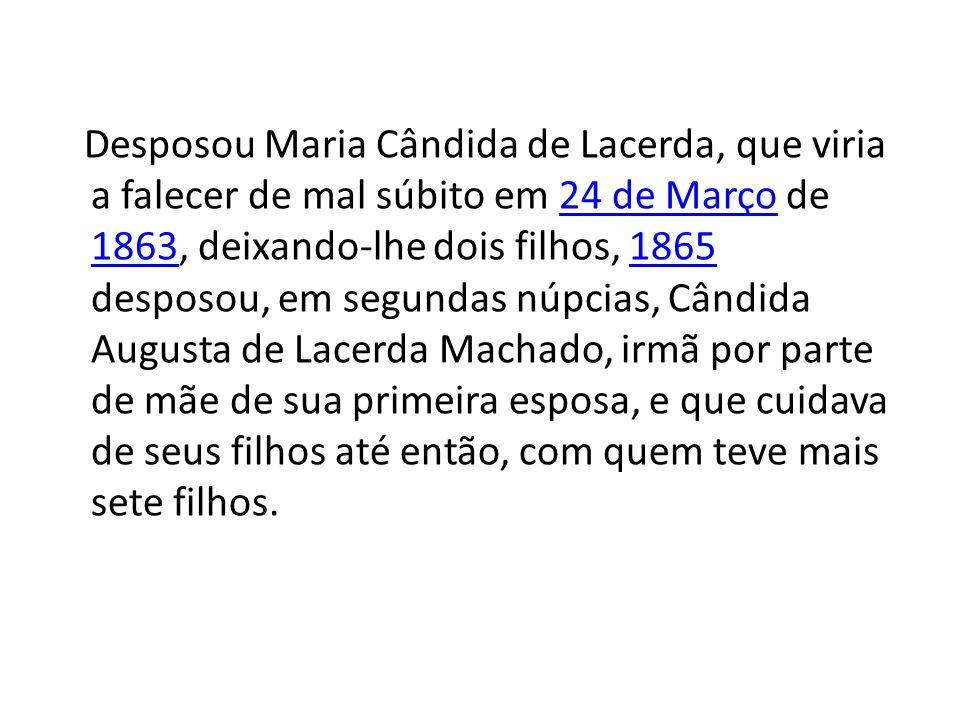 Desposou Maria Cândida de Lacerda, que viria a falecer de mal súbito em 24 de Março de 1863, deixando-lhe dois filhos, 1865 desposou, em segundas núpcias, Cândida Augusta de Lacerda Machado, irmã por parte de mãe de sua primeira esposa, e que cuidava de seus filhos até então, com quem teve mais sete filhos.