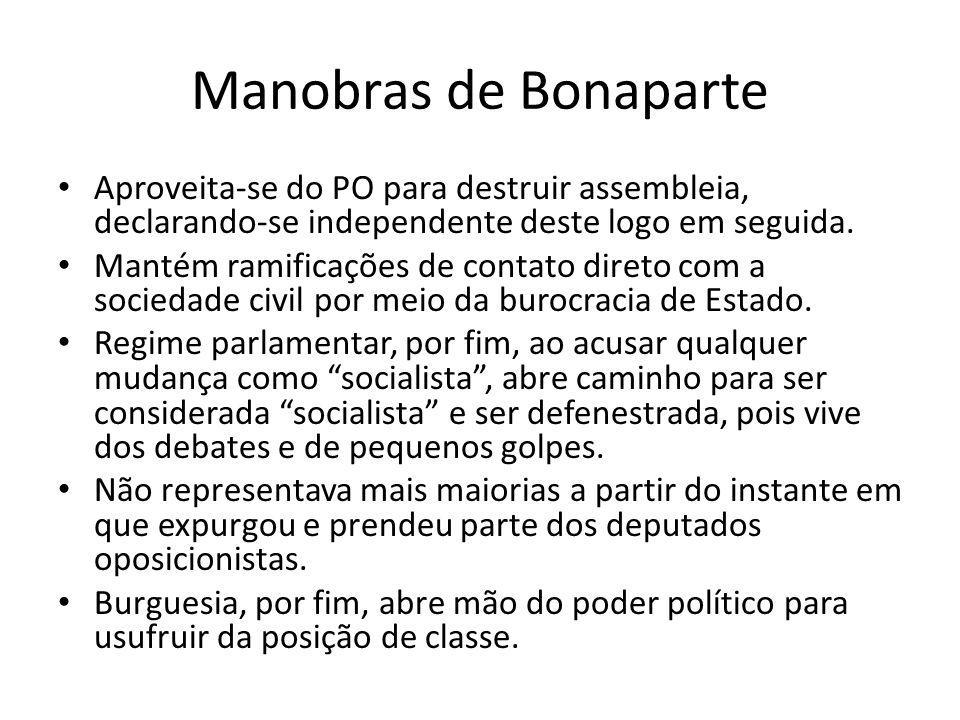 Manobras de Bonaparte Aproveita-se do PO para destruir assembleia, declarando-se independente deste logo em seguida.