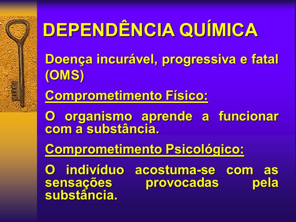 DEPENDÊNCIA QUÍMICA Doença incurável, progressiva e fatal (OMS)