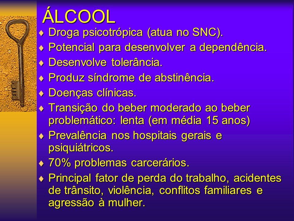 ÁLCOOL Droga psicotrópica (atua no SNC).
